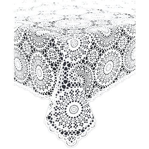 KERSTEN Tischdecke abwischbar wetterfest 'Crochet', 137 x 180cm, Weiß