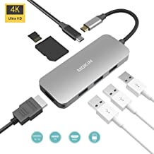 MOKiN 7 in 1 USB C HDMI Adapter for MacBook, USB-C to HDMI Output, Sd+Microsd Card Reader and 2-Ports USB 3.0 with USB-C Power Pass - Space Gray