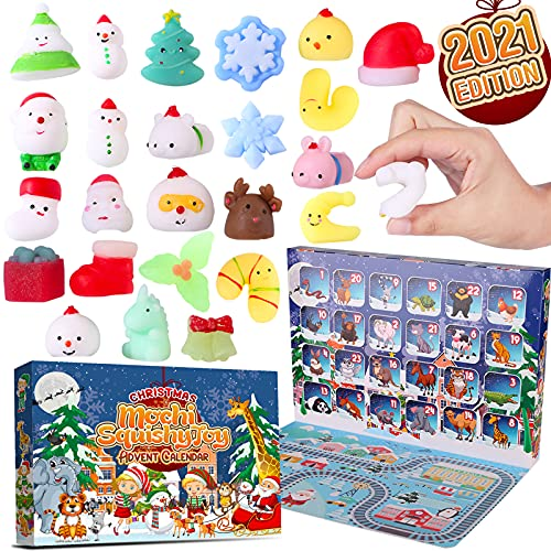 Christmas Squishy Toys Advent Calendar 2021 - 24Pcs Party Favors Fidget Anxiety Relief Sensory Autism Toy Autistic Children Surprise DIY Kit Set Packs Under 15 Dollars Age from 3 4 5 6 7 8+ and above