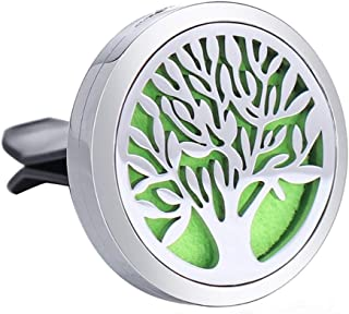 Aromatherapy Essential Oil Car Diffuser Vent Clip - 30mm Stainless Steel Magnetic Closure Locket Air Freshener with Felt Pads