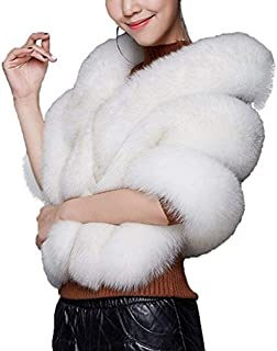 Huaqisen Women Luxury Faux Fur Coat Jackets Wrap Cape Shawl for Wedding Party