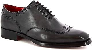 Leonardo Shoes Scarpe Stringate Brogues Artigianali da Uomo in Pelle Grigia - Codice Modello: 9120/19 Tom Vitello Delave G...