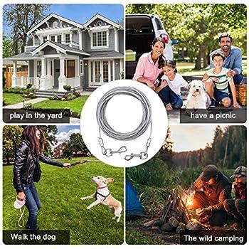 NATUCE Câble d'attache pour Chiens jusqu'à 80 kg, Animaux de Compagnie Plomb pour Chiens de Petite, Moyenne ou Grande Taille (Blanc, 5M)