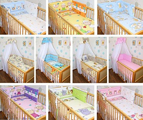 6 tlg Baby Bettset mit Chiffonhimmel Bettwäsche Nestchen Bettausstattung D14