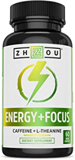 Zhou Energy + Focus | Caffeine with L-Theanine | Focused Energy for Your Mind & Body | #1 Nootropic Stack for Cognitive Pe...