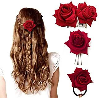 ClassicBeauty Elegant Bright Red Rose Velvet Hair Clip Set (Set of 3) New Flamenco Women and Girls Hair Accessories Wedding Bridesmaids Headpiece