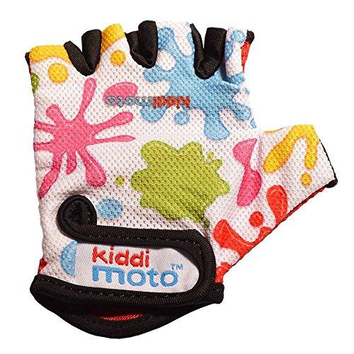 KIDDIMOTO GLV020S - Handschuhe Splatz mit bunten Flecken, Größe S, weiß