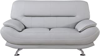 American Eagle Furniture Mason Upholstered Leather Loveseat with Added Base Support and Pillow Top Armrests
