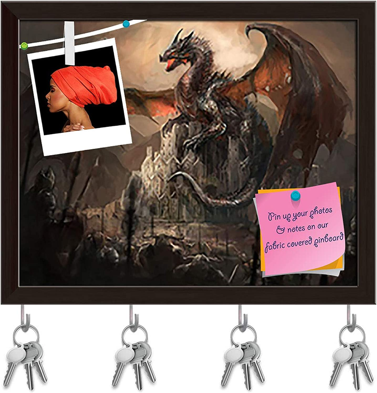 Artzfolio War with The Dragon On Castle Key Holder Hooks   Notice Pin Board   Dark Brown Frame 19.9 X 16Inch