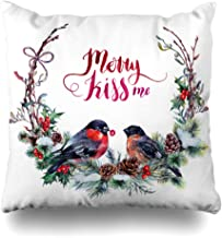 Ahawoso Throw Pillow Cover Snow Red Branch Watercolor Christmas Wreath Made Lettering Spruce Holidays Vintage Bird Pine Robin Home Decor Cushion Case Square Size 18