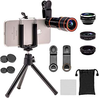 Apexel 4 in 1 Camera Lens Kit(12x HD Optical Zoom Lens, 198 Fisheye,0.63x Wide Angle,15x Macro, Mini Tripod & Phone Holder) Compatible for iPhone 8/7/ 6/6s Plus Samsung HTC Tablet Andriod Phone