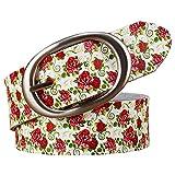 KKSB Cintura Cintura in pelle alla moda Cintura scozzese stampata di alta qualità Donna Cintura con fibbia Cinturino in pelle di vacchetta Larghezza femminile 3,5 cm 100 cm Rosso