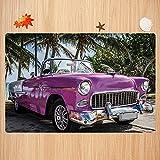 Alfombra de baño Antideslizante,Coches, Coche descapotable de Color clásico aparcado en la Playa de Cuba Junto al mar Árboles exó Apto para Cocina, salón, Ducha (40x60cm)