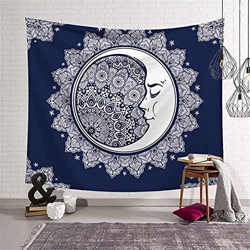 Tapiz de Pared Psicodélico,Mandala Luna Azul Tapiz,Tapices hippie,Tapiz grande,Tapices Indio,Tapices Decoración de Pared para Dormitorio Sala de Estar 150x200cm/59x79in