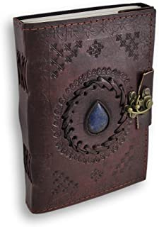 Leather Journal with Blue Stone Writing Pad Blank Notebook Handmade Notepad for Men & Women Unlined Paper Best Present Art...
