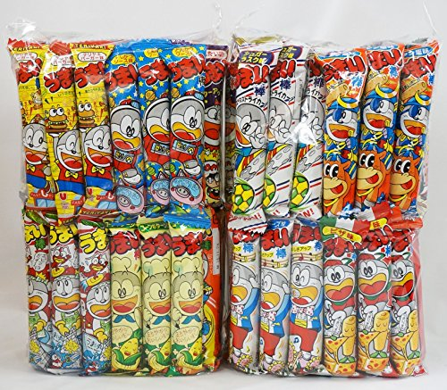 Assorted Japanese Junk Food Snack Umaibo 100 Packs of 11 Types (2 Package Set of 50 Packs) by Dagashi