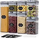 Airtight Food Storage Containers with Lids - 7 PCS BPA Free Plastic Cereal Containers - Easy Lock for Flour Sugar Cereal Pasta Spaghetti Kitchen Pantry Organization Container - Include Labels & Marker