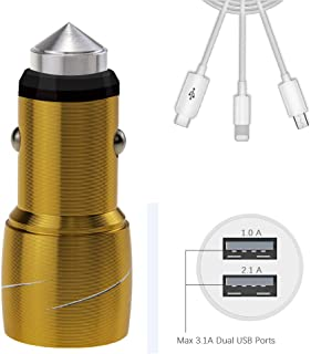 Fanlide Car Charger Compatible iPhone XR/XS/X/8/7/6/6S,iPad,Android,All USB Device. Quick Charge Dual USB Cigarette Lighter Adapter with Emergency Glass Breake Hammer(with 3ft Charging Cable)(Gold)