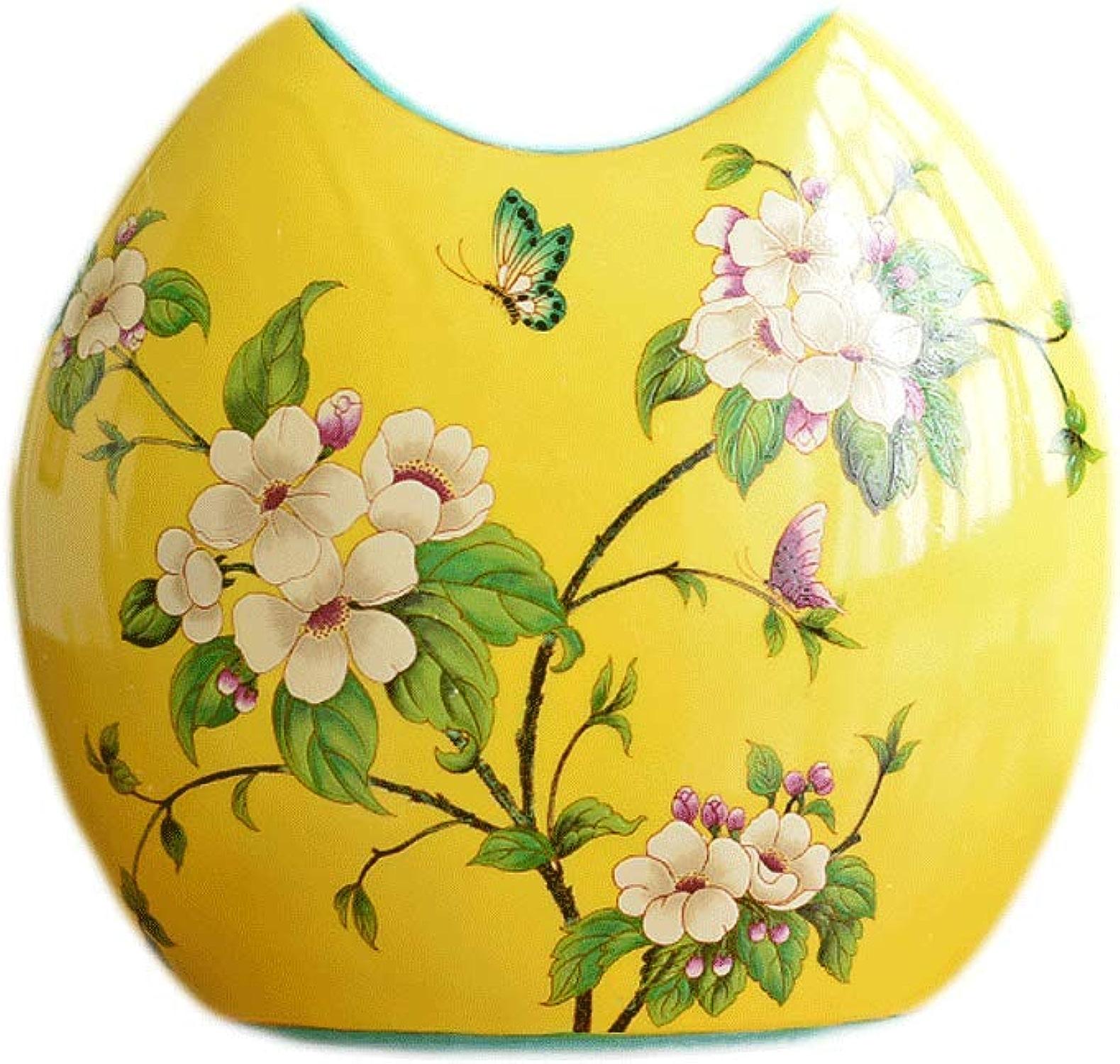 Vases QIQIDEDIAN Pays Salon Chambre Modèle Décoration Douce ArrangeHommest De La Fleur Décoration Céramique (Couleur   jaune, Taille   18cm27.5cm12.5cm)