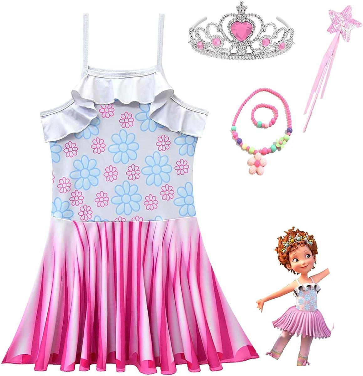 MSSmile Girls Sleeveless Dress Fancy Nancy Costume Set for Girls Fancy Nancy Ballerina Dress