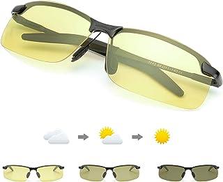 c76521948f TJUTR Fotocromaticas Gafas de Sol para Conducción Nocturna Polarizadas  Hombre, Marco de Metal Anti Reflectante