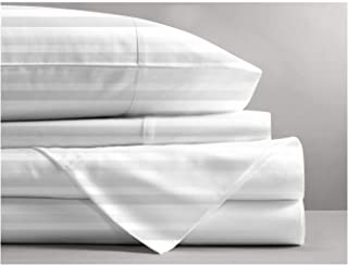 Mayfair Linen 800 Thread Count Striped Sheets for Bed -100% Long Staple Egyptian Cotton, Woven 800 TC Stripe Queen White 4 Piece Bedding Set Hotel Quality, OekoTex Certified