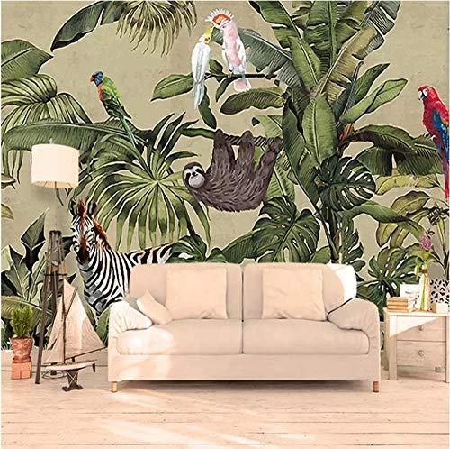 Achtergrondfoto 3D wallpaper woonkamer aangepaste 3D-fotobehang tropisch regenwoud vogel palmbladeren woonkamer TV achtergrond muurschildering vlies behang muurschilderingen