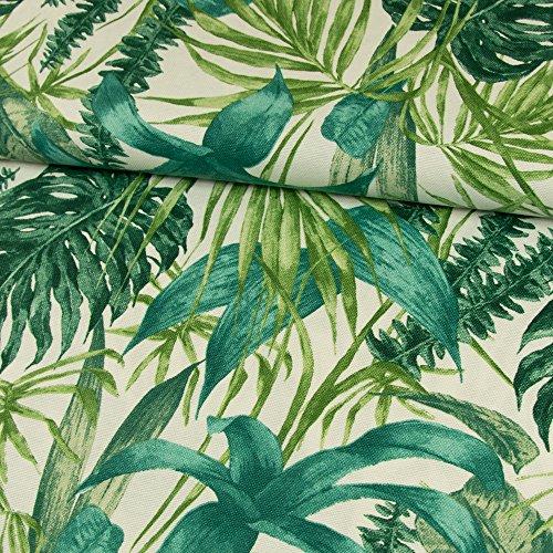 Dekostoff Blätter grün Canvasstoff Dekorationen - Preis gilt für 0,5 Meter -