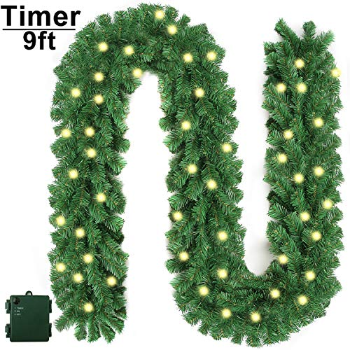 Christmas Garland with Lights and Timer, Prelit Xmas Garlands with 50 Led Battery Powered String Light for, Home Decoration, 9 Ft by 10 Inch