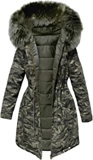 Cotton Padded Jacket Camouflage Parka Women Long Overcoats Winter Warm Thick Casual Military Fur Tops