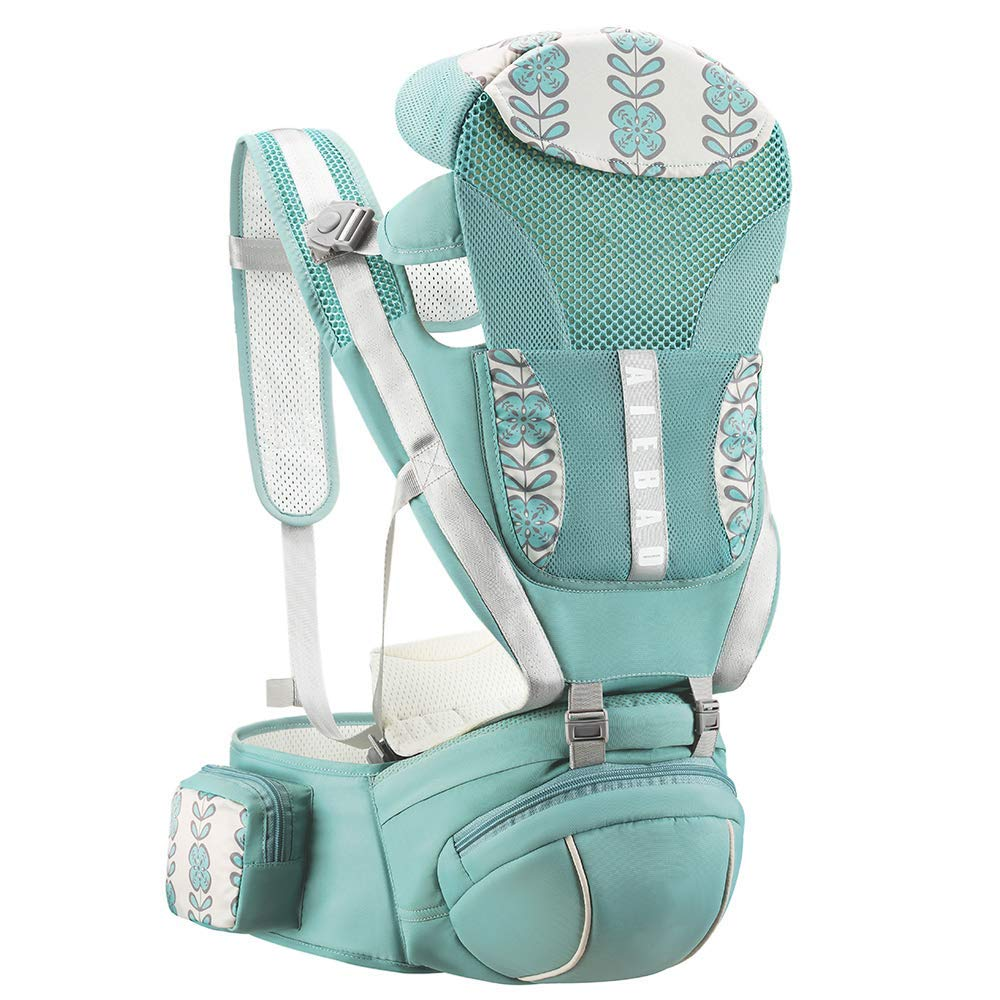 YOOVEE Baby Carrier with Hip Seat, Baby Carrier Newborn to Toddler with Lumbar Support Child 7-33 lbs and Cool Air Mesh, Safety Comfort Baby Holder Carrier (Green)