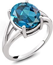 Gem Stone King Sterling Silver London Blue Topaz Women's Solitaire Ring (5.20 Ct Oval 12X10MM Available 5,6,7,8,9)