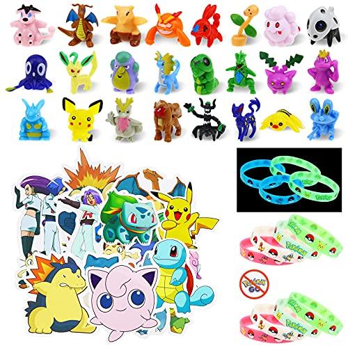 Lunriwis Juguetes Figuras de Pokémon,24 Piezas Mini Figure Monster,12 Muñecas Pulseras Luminosa de Silicona Pokémon, 50 Unidades de Pegatinas de Pokémon para niños