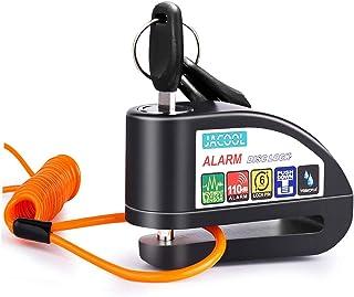JACOOL Disc Brake Lock Anti-theft Motorcycle Alarm Disc Lock, 110dB Alarm Sound and 6mm Pin Security Disc Padlock with 4ft...