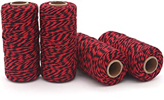 WINGONEER 4pcs 100M Wine String, Durable Cotton Baker's Twine Heavy Duty Cotton Crafts Twine 2 mm for Packing Twine String Decorations - Red+ Black