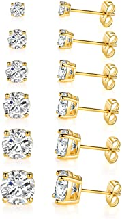 14K Yellow Gold Plated Round Cut Clear Cubic Zirconia Stud Earring Pack of 6 (6 Pairs)