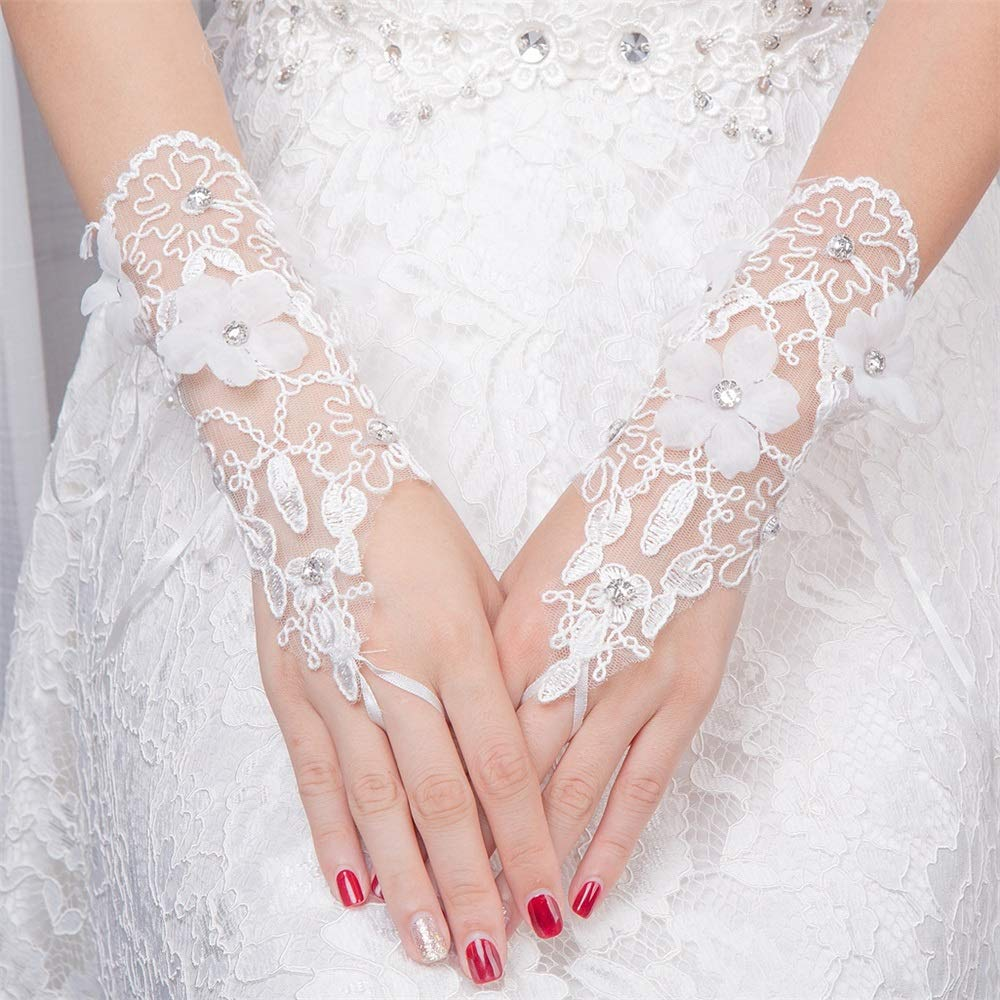 lace glove Flower Girl ivory lace gloves wedding bridal gloves french lace for princess wedding gloves Bridesmaid gloves