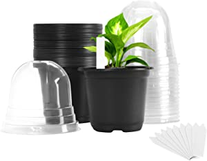 Plastic Plant Nursery Pots 30 Packs 4 Inches with Humidity Dome and 10Pcs Plant Labels, Garden Pots for Plants Indoor & Outdoor, Flower Pots Seed Starting Pots for Seedlings, Cuttings, Succulents
