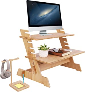 Standing Bamboo Computer Desk Stand Convertor Riser for Monitor Adjustable Height Standup Desk Top Laptop Workstation with...