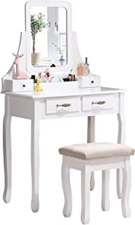 Nolany Makeup Vanity Sets for Women Adult Wood Vanity Table with Drawers Mirror Vanity Dressing Table Set with Stool, White