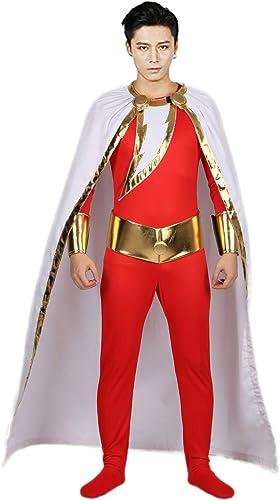 Captain Marvel DéguiseHommest Costume Suit de Bataille PU Cuir Polyester Collant avec Cape pour Homme