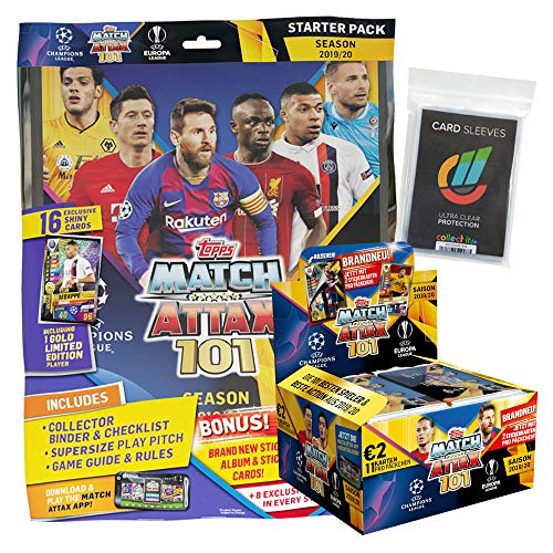 CAGO Topps Match Attax 101 - 2019/20 - 1 Starter + 1 Display (24 Booster) + 40 Collect-it Hüllen Sleeves