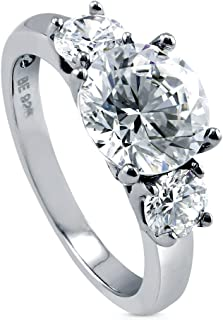 Rhodium Plated Sterling Silver Round Cubic Zirconia CZ 3-Stone Anniversary Engagement Ring 3.15 CTW