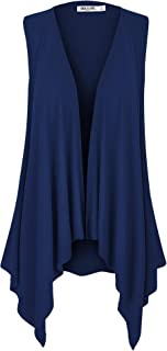 LL Women's Sleeveless Ombre/Solid Draped Open Front Cardigan Vest Asymmetric Hem Plus Size - Made in USA