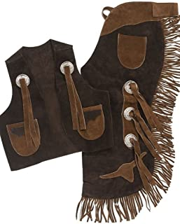 Tough-1 Youth Vest & Chap Set with Longhorns Brown Large