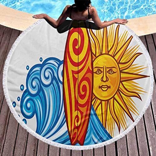 Toalla de playa redonda gruesa de lujo Ride The Wave Manta circular ultra suave Ocean Wave con sol y tabla de surf Lifestyle Summer Freedom Imagen para colgar en la playa o en la pared Vermilion Yello