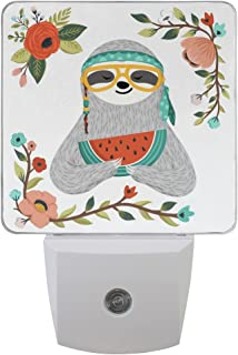 Naanle Set of 2 Hipster Sloth in Glasses Bandana Eating Watermelon Hippie Animal Summer Colorful Floral Flowers Branch On White Auto Sensor LED Dusk to Dawn Night Light Plug in Indoor for Adults