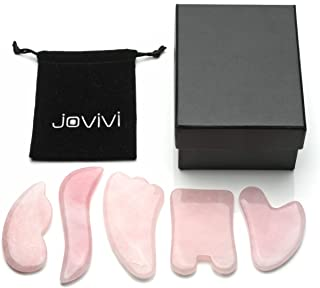 Jovivi 5pcs Gua Sha Scraping Massage Tools Kit- Natural Rose Quartz Guasha Board for Graston SPA Acupuncture Therapy- Reduce Neck and Muscle Pain and Improve Mobility