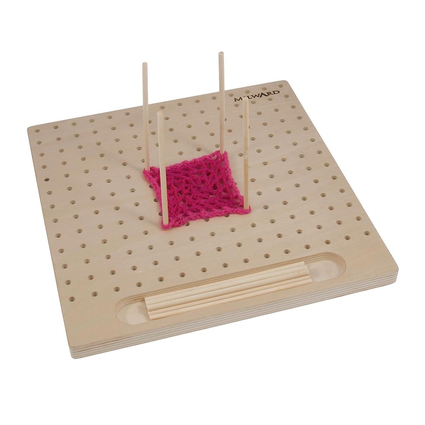 Milward Blocking Board with 12 Pins, Wood, 30x30x12cm