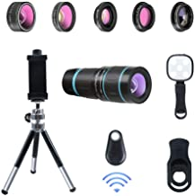 Phone Camera Lens, 6 lenses+ LED Light+ Remote Shutter+ Tripod, 18X Telephoto Zoom/Wide angle/Macro/Fisheye/CPL/Kaleidoscope camera lens kit for iPhone Xs X XR 8 7 6 Plus Samsung and Android